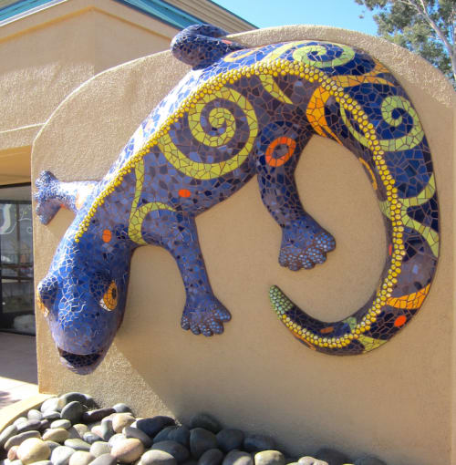 Public Sculptures by Rachel Rodi seen at Sylmar Square Shopping Center, Sylmar, Los Angeles, CA, Los Angeles - Lizzie - Mosaic Lizard Sculpture