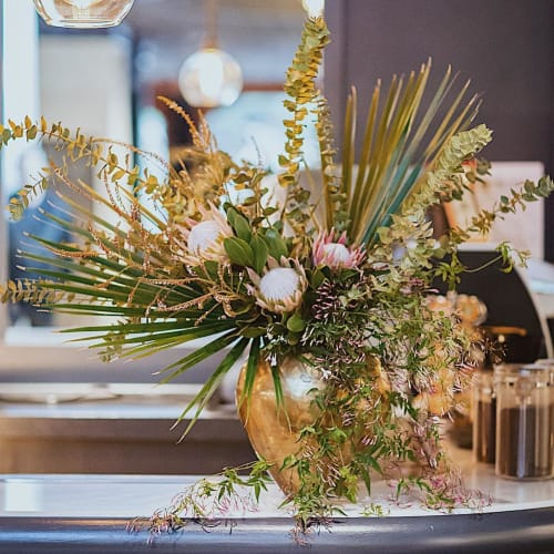 Floral Arrangements by Wallflower Design at The Overlook Lounge, Oakland - Floral Bar Arrangement