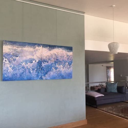 Paintings by Mandy Lake seen at Private Residence, Cape Town - Sapphire Dawn 1 and Sapphire Dawn 2
