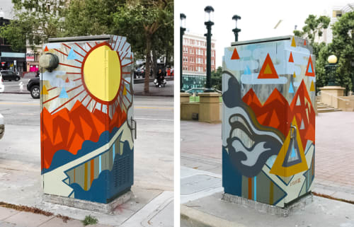 Street Murals by David Polka seen at Frank H Ogawa Plaza, Oakland - Downtown Utility Box