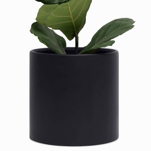 Vases & Vessels by Peach & Pebble seen at Private Residence, Virginia Beach - Black Ceramic Planter