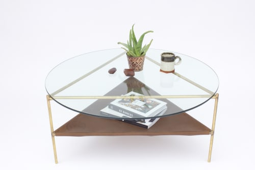 Tables by Sean Woolsey seen at Vans HQ, Costa Mesa - Brass Bermuda Table (Round Coffee Table)