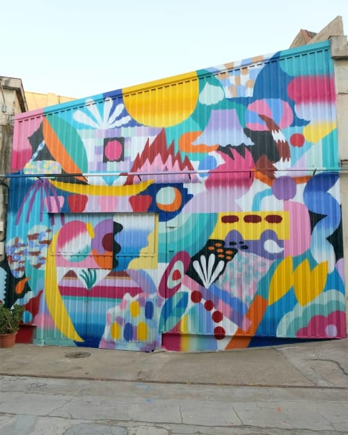 "Murals by Zosen seen at Nau Bostik, Barcelona - ""Shadow & Light"" mural"