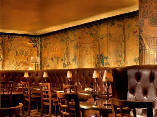 Murals by Ludwig Bemelmans seen at Bemelmans Bar, New York - Central Park Mural