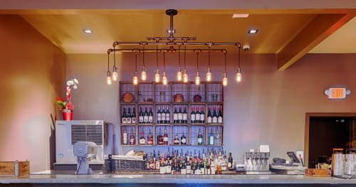 Chandeliers by Hammers and Heels seen at Mason Social, Alexandria - 12 Light Pipe Chandelier
