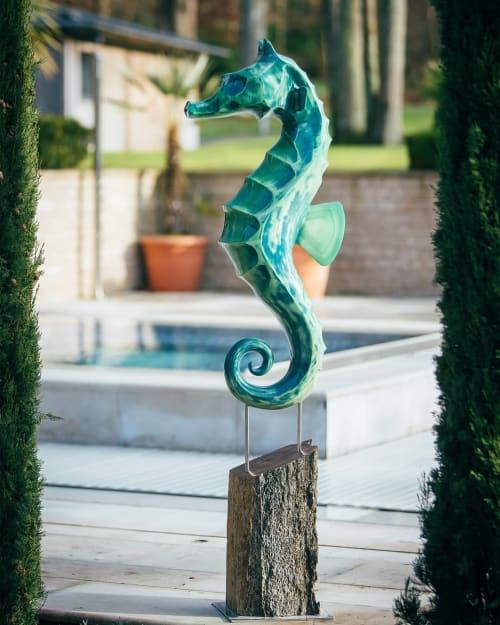 Public Sculptures by Andy Baerselman seen at Heathrow Terminal 5, Longford - 'Seahorse'