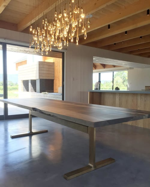 Tables by Jeff Martin Joinery seen at Private Residence, Napa - Bronze Shaker Table