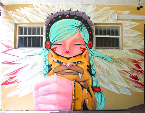Street Murals by Yuhmi Collective seen at Little Havana, Miami - Lana & Saber