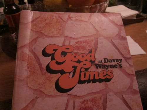 Signage by Manufactur seen at Good Times at Davey Wayne's, Los Angeles - Drinks Menu