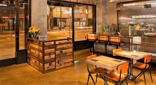 Furniture by District Mills seen at Umami Burger, Los Angeles - Copper and Reclaimed Wood Host Stand
