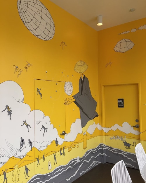 Murals by Kozyndan seen at Yellow Fever, Torrance - Beach