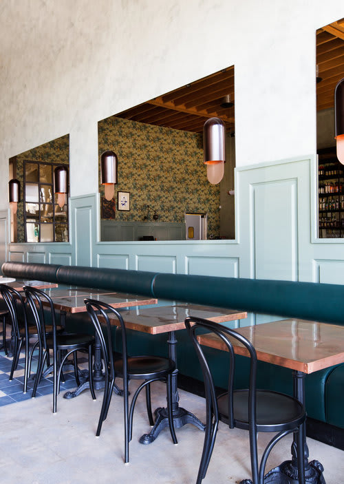 Lighting by Simon St James LeComte seen at Cafe Birdie, Los Angeles - Copper Lighting at Cafe Birdie