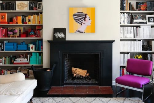 Paintings by Ashley Longshore seen at Private Residence, New York - Audrey With Yellow Striped Background