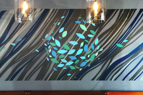 Murals by VESL seen at Blue Line Pizza, Campbell, Campbell - Waves Mural