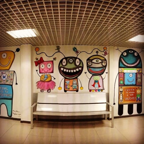 Murals by Gary Hirsch (botjoy) seen at CARDIOPATÍAS CONGÉNITAS LA PAZ, Madrid - Mural La Paz Children's Hospital, Madrid (a collaboration with Maria Cuesta)
