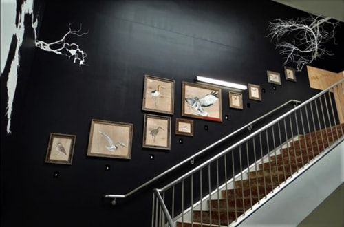 Paintings by Jane Kim seen at Facebook HQ, Menlo Park - Birds