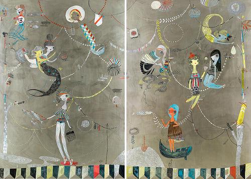 Paintings by Kelly Tunstall seen at A16 (Rockridge), Oakland - Artwork: Aquatics