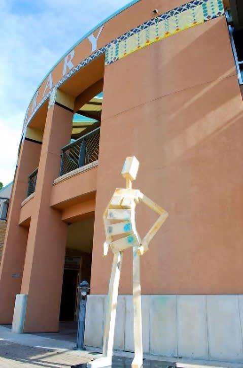 Sculptures by James Moore seen at Orinda Library, Orinda - Behold