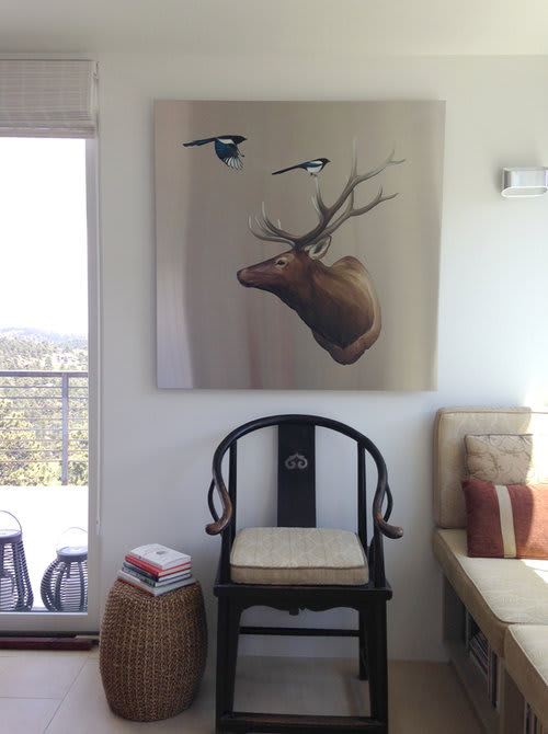 Paintings by MAI WYN FINE ART seen at Private Residence, Boulder - Elk with Magpies