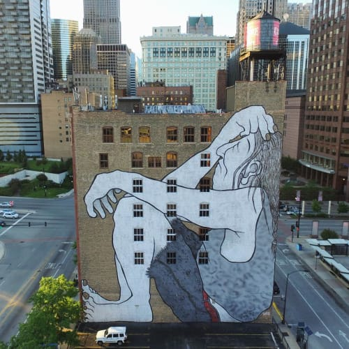 Street Murals by Ella & Pitr seen at 527 S Wells St, Chicago, IL, Chicago - The Native American lost in Chicago... Dreamin'...