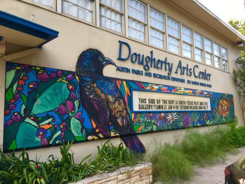 Murals by J MUZACZ seen at Dougherty Arts Center, Austin - The GRACKLE