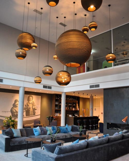 Pendants by Graypants seen at SeeHuus Lifestyle Hotel, Timmendorfer Strand - Sun and Moon Scraplights