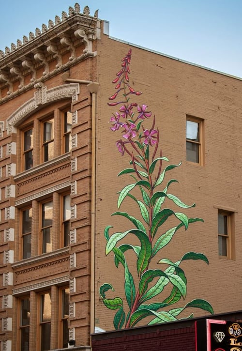 Murals by Mona Caron seen at The Postal Building, Portland - Fireweed
