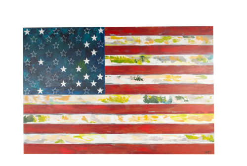 Paintings by Boo Johnson seen at Private Residence, Manhattan Beach - American Flag Modern Painting
