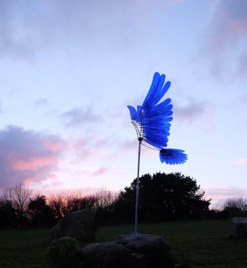 Public Sculptures by Michael Chaikin seen at Tremenheere Sculpture Gardens, Nr Gulval - Blue Wings