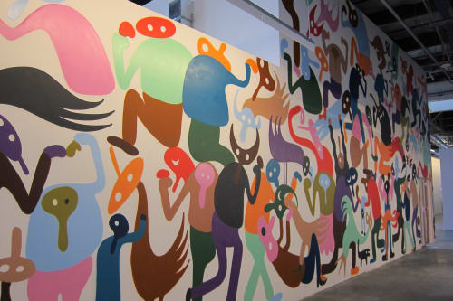Murals by Chris Lux seen at Facebook HQ, Menlo Park - Interaction