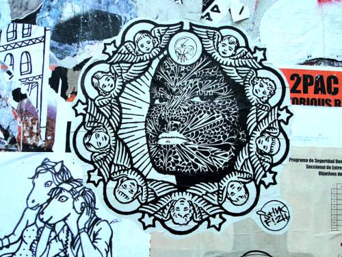 Street Murals by Stink Fish seen at Valencia Street, SF, San Francisco - Cherubs