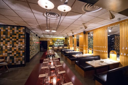 Tables by Studio Robert McKinley seen at Tijuana Picnic, New York - Wooden Tables