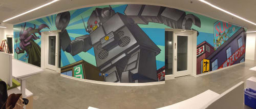 Murals by John Park seen at Universal Music Group-Santa Monica,CA, Santa Monica - Intergalactic 2017