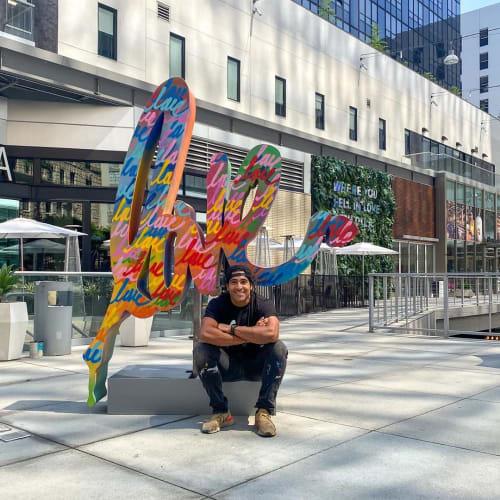 Public Sculptures by Ruben Rojas seen at The BLOC,  DTLA, Los Angeles - Love Sculpture