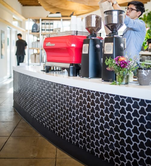 Tiles by MASS Architecture & Design seen at Dinosaur Coffee, Los Angeles - Custom Molded Tiles
