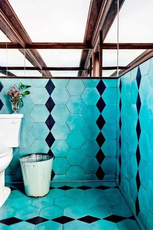Tiles by clé tile seen at Petit Trois, Los Angeles - kelly hexagon & black diamond - cement tiles