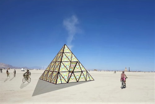 Sculptures by Dicapria seen at Burning Man 2017 - Gummy Bear Pyramid