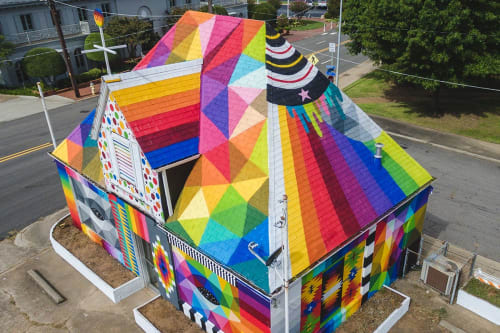Street Murals by Okuda San Miguel seen at 1300 Garrison Avenue Fort Smith, AR, Fort Smith - Universal Chapel