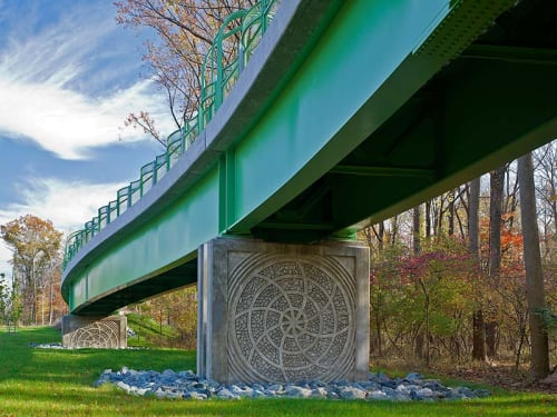 Public Sculptures by Vicki Scuri SiteWorks at Veirs Mill Road & Aspen Hill Road, Aspen Hill, MD, Aspen Hill - Rock Creek Trail Pedestrian Bridge