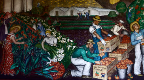 Murals by Maxine Albro seen at Coit Tower, San Francisco - California