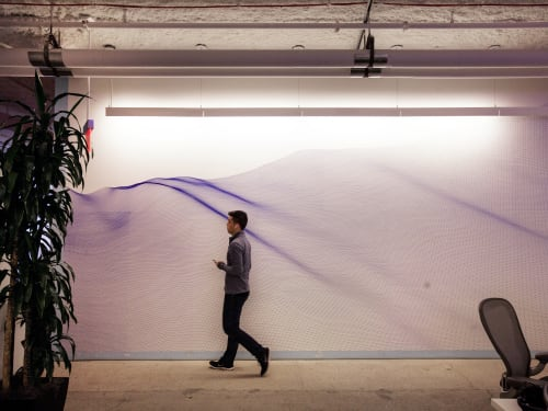 Murals by Matt Shlian seen at Facebook, New York, Astor Place, New York - Drift