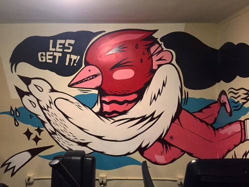 Murals by Sentrock seen at Freehand Chicago, Chicago - Les Get It