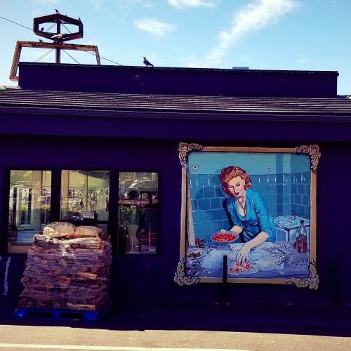 "Murals by Cult-Classics (Jonas Never) seen at WOOD, Los Angeles - Mural by Jonas Never (""Sophia Loren making pizza"")"