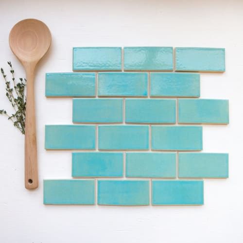 Tiles by Mercury Mosaics seen at Bluestone Lane, New York - 3″x6″ Subway Tile – 12W Blue Bell