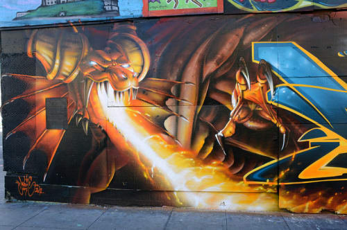 Street Murals by MadC seen at 6th Street, SoMa, San Francisco - Dragon Fire