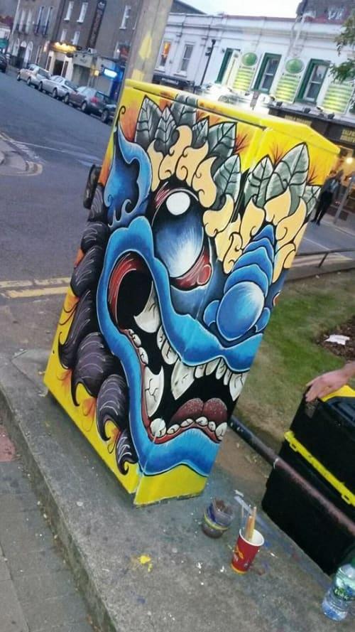 Street Murals by Kim bale seen at Baggot Street Lower, Dublin - Monty