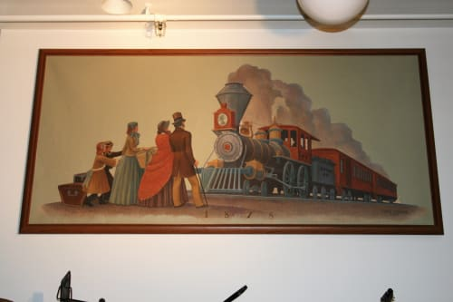 Murals by Edith Hamlin seen at US Post Office - Tracy, Tracy - Days of First Railroad