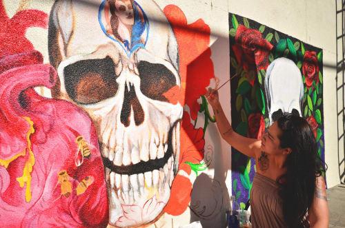 Murals by Monique Kimberly Sugar seen at Mercado Hollywood, Los Angeles - Skull Mural