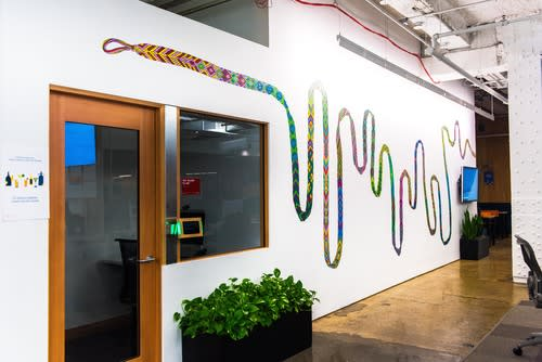 Murals by Mara Baldwin seen at Facebook, New York, Astor Place, New York - Keep Going
