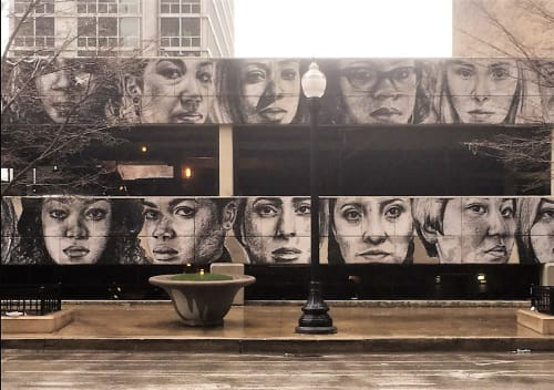 Murals by Tatyana Fazlalizadeh seen at Columbia College Chicago, Chicago - Women